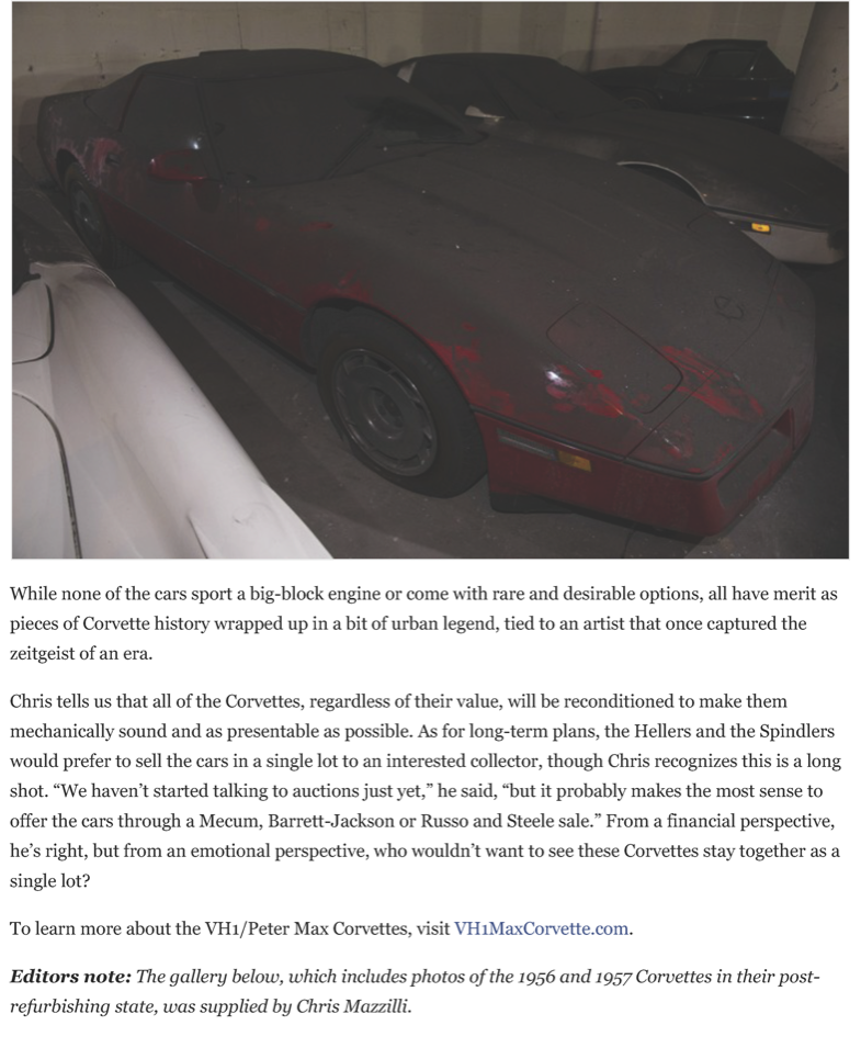 After a 25-year slumber, the VH1 - Peter Max Corvettes resurface | Hemmings Daily_Page_11