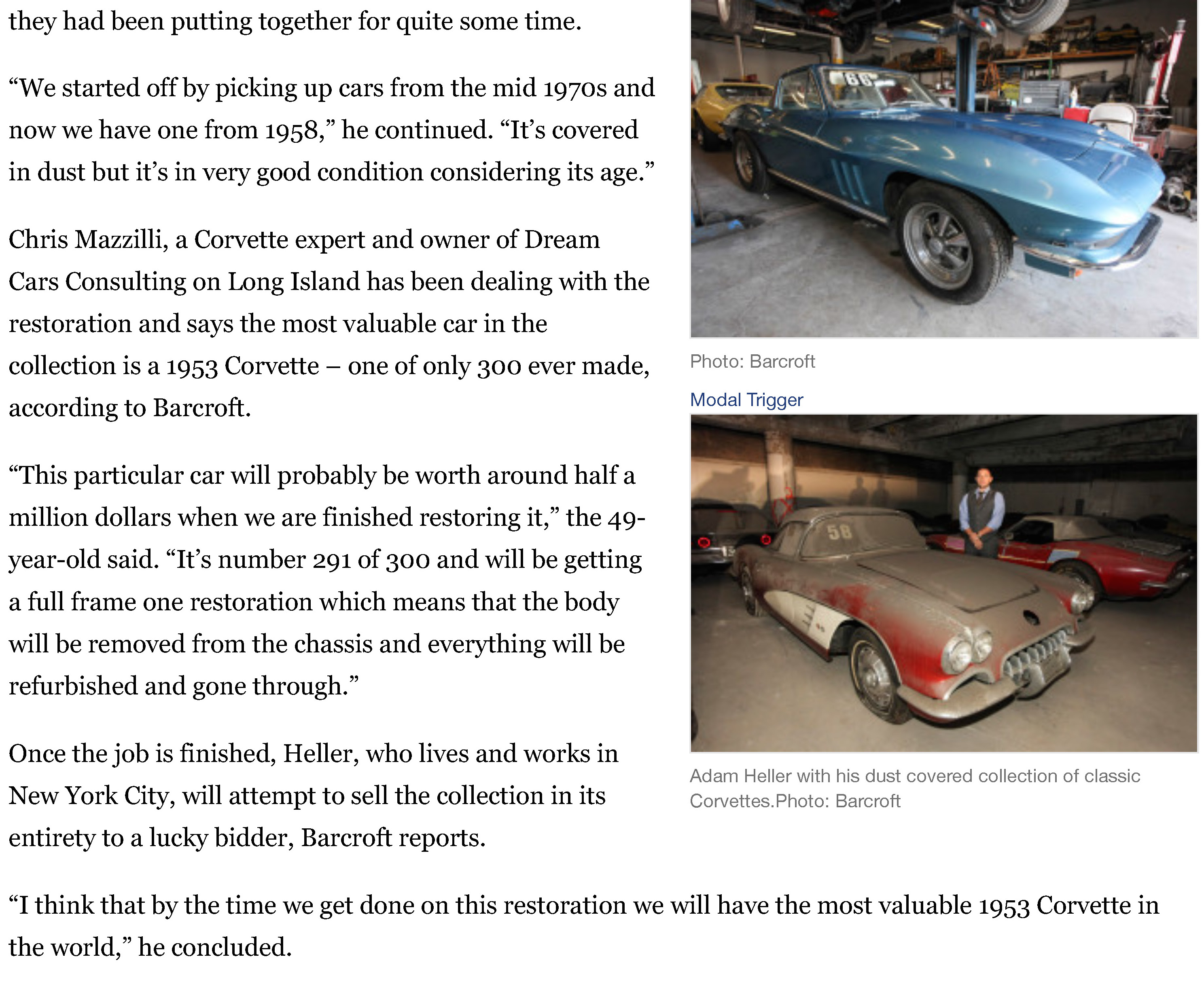 Treasure trove of vintage Corvettes being restored | New York Post